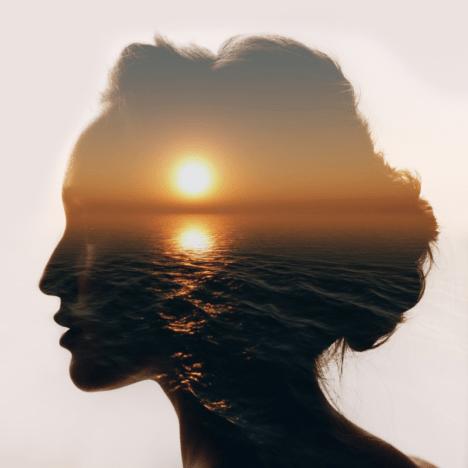 mindfulness sunset head silhouette