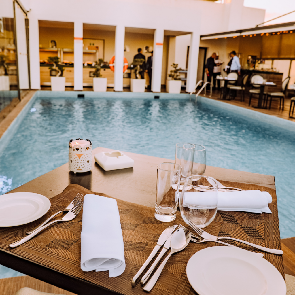 hotel dining in pool view